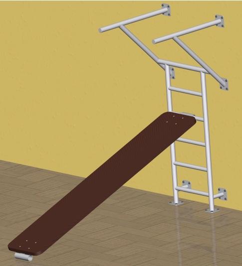 Сложный вариант навесной скамьи для пресса