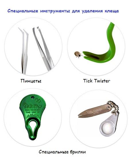 Специальные инструменты для извлечения клещей