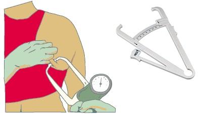 Измерение толщины жировых складок специальным штангенциркулем